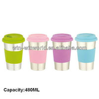 2013 Hot selling Colorful Stainless Steel Coffee Mug With Silicone Lid