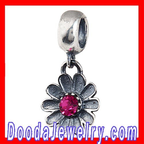 Antique 925 Sterling Silver Dangle African Daisy Flower Charms with Fuchsia Austrian Crystal