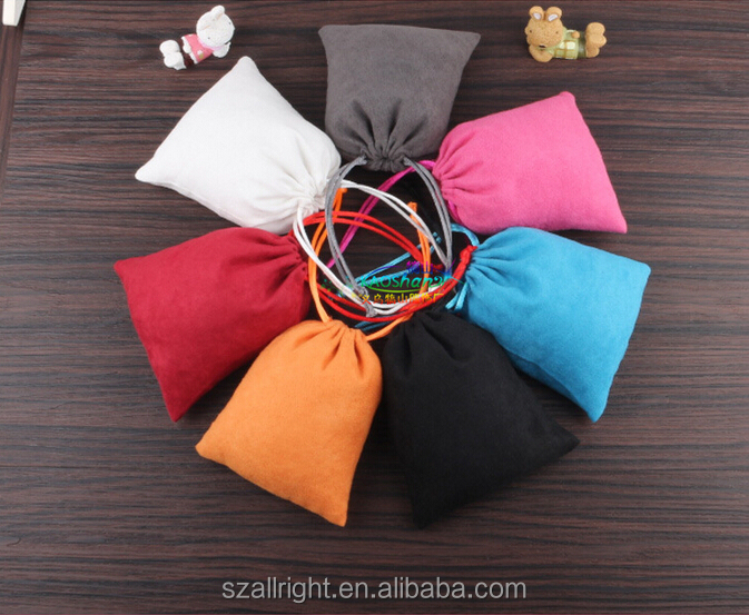 suede bags drawstring pouch with printed logo