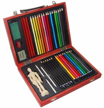 43-pieces students & artists drawing kit in wooden case painting art set