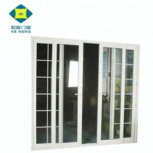 Cheap Double Tempered Glass White PVC Blacony Sliding Glass Doors with Grills for Bathrooms