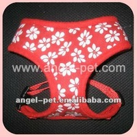 Hot-selling Red Flower Pattern Dog Harness with strong buckles
