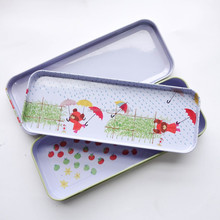 Rectangle Double Layer Metal Pencil Case , Fancy Metal Tin Case