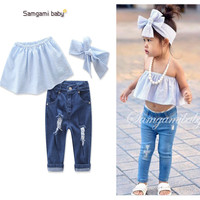 2017 Girls Childrens Clothing Sets Cotton