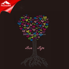 Love Life Letters Hot Fix Heart Tree Rhinestone Iron On Transfer For Lover'S Tshirt