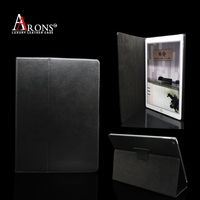 Design folio opening stand book case genuine leather cover for ipad