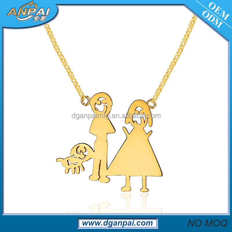 2017 new gold silver dog necklace of family for women designs in 10 grams