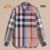high quality loose fit casual men plaids shirt with button