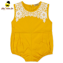 2LLY-201 Yihong Plain Yellow Sleeveless Soft Cotton Baby One Piece Girls Leotard Infant Baby Crochet Baby Romper