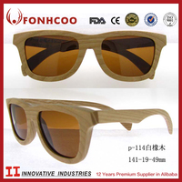 FONHCOO Men Classic Sunglasses Made Of White Oak Wood With Bamboo Case