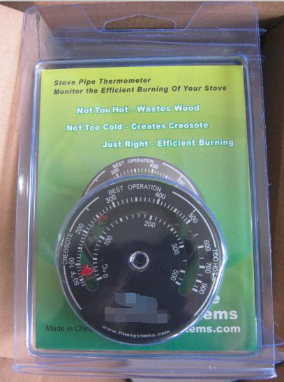 Magnetic Wooden Stove Pipe Thermometer Temperature Gauge