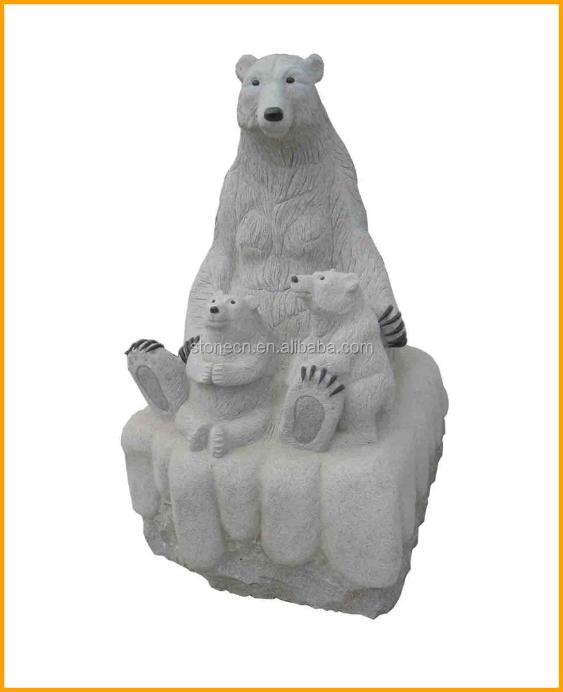 Outdoor Decor Carving Natural Stone Animal Bear Statue