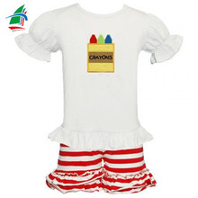 Embroidered crayons top red striped ruffle shorts wholesale boutique back to school outfits