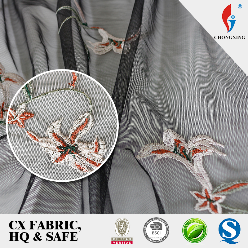 Chongxing net embroidery fabric design bell embroidery net dress materials whole sale