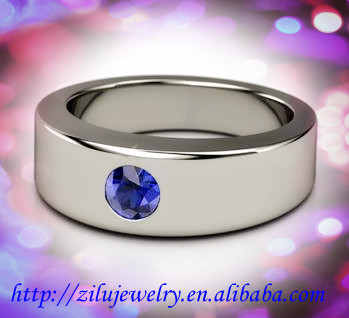 Surgical Steel 316L Stainless Steel High Polish Finish plain men's sapphire Ring Band