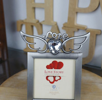 Pewter Angel Wings With Heart Shape Diamond 3x3'' Love Theme Metal Photo Frame For Wedding &Lover Gifts