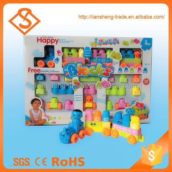 Low price funny train blocks set small plastic toys for learning number