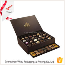 New two layers drawer box packaging design gift box with compartments cardboard, black empty box for chocolate