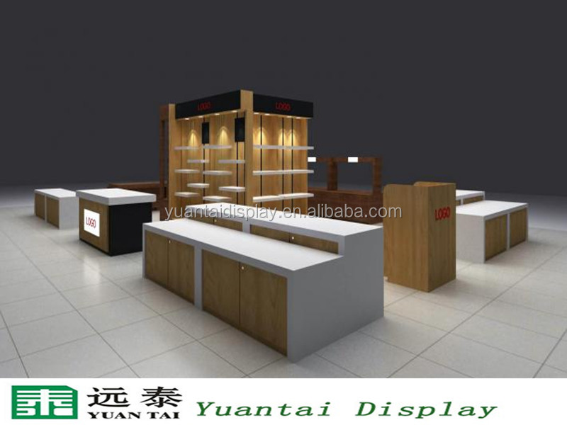 beauty fashion store interior clothing display cabinet and wooden clothing display table in mall