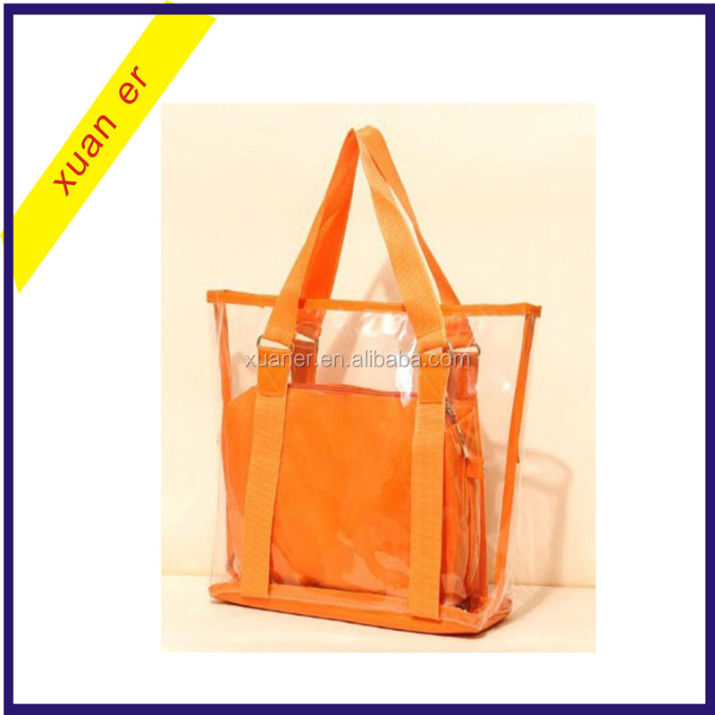 Wholesale China Clear Transparent Plastic Handbag Tote Shoulder Bags Beach Bag
