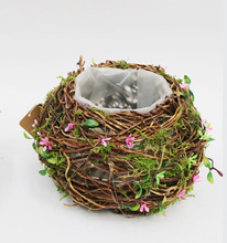 wicker round ball shaped plant pots with moss