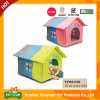 Sale!!! 2016 New Arrival Color Summer Use High Quality Waterproof Straw Fabric Cardboard Pet House