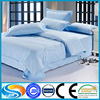 China satin check high quality cotton blue color hotel bedding set satin strip bed line bed set