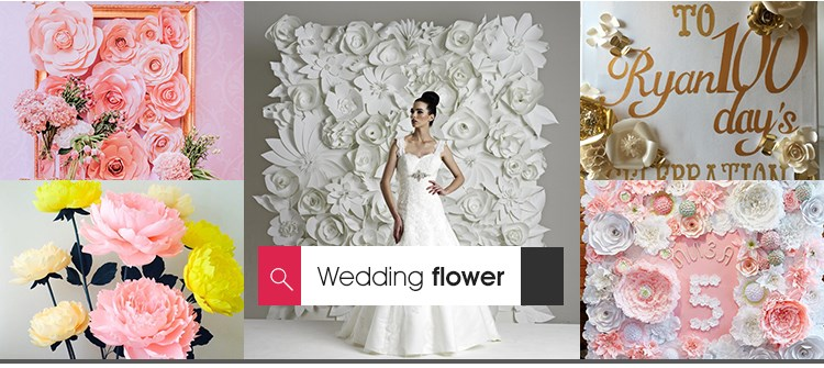 2017 hot boutique paper flower backdrop wedding decorations
