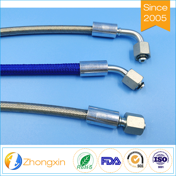 Teflon inner hose black color stainless steel braid ptfe brake hose