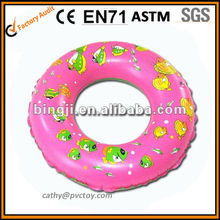 colorful clear printing swim ring inflatable