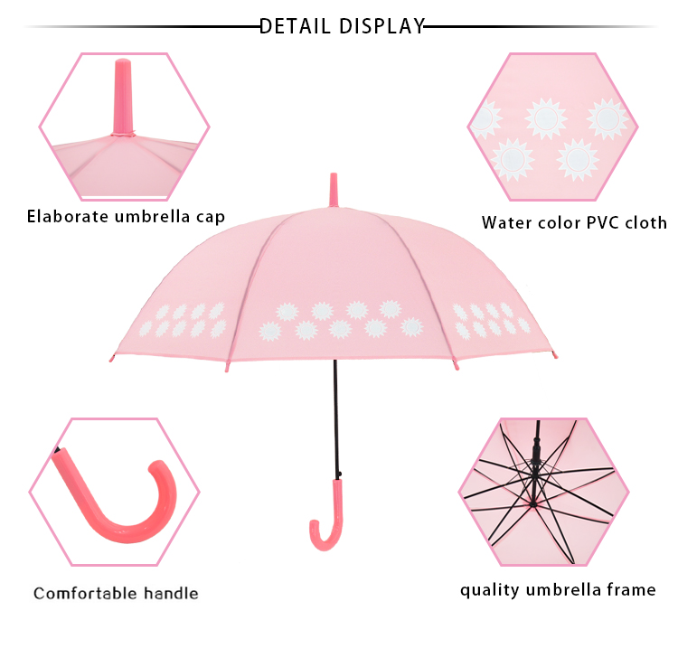 RST hot sale new fashion creative color changing straight cute umbrella for kids