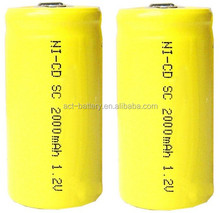 NiCd Sub C rechargeable batteries 2000mAh for Cordless Drills, Lawn Mowers