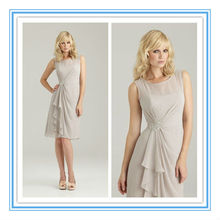 Knee-Length Ruched Chiffon Beaded Broach Patterns For Bridesmaids Dresses( BDAL-4018)