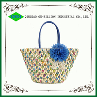 Corn husk woven shoulder straw bags wholesale