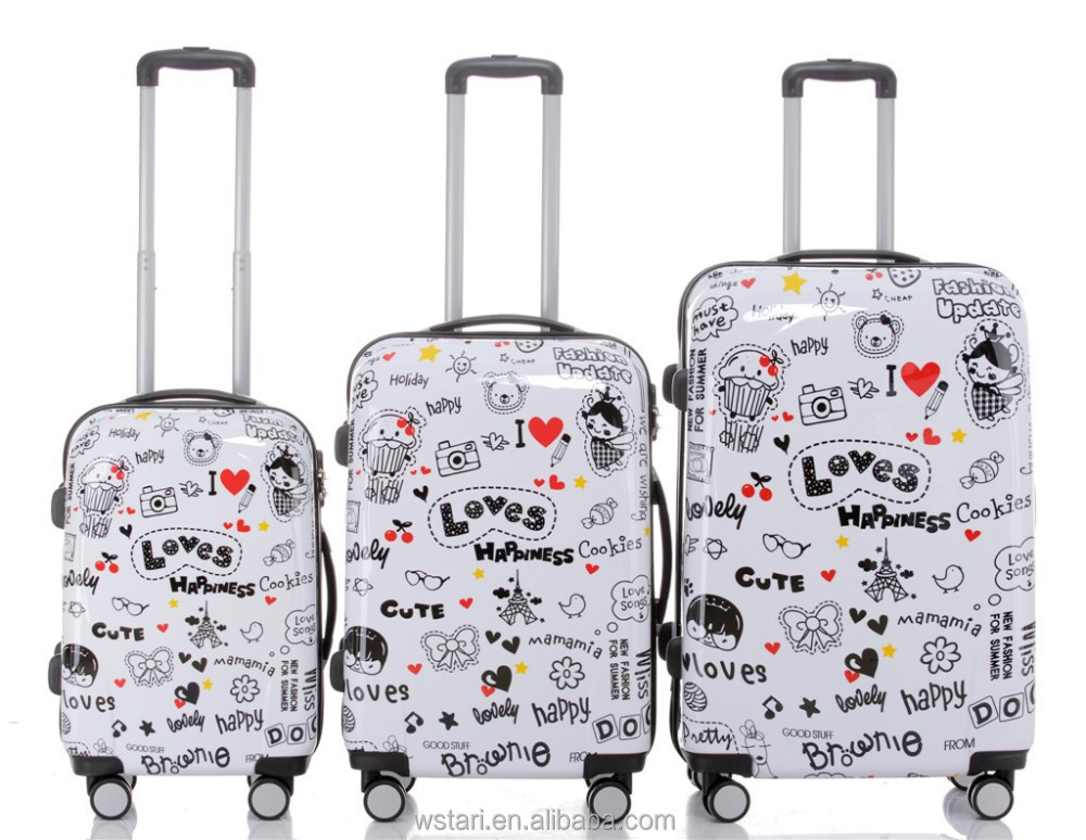 Cute Loves Hard Shell Pc Abs Travel Trolley Luggage Set With Hard ...
