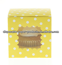 Stylish Party Partyware Polkadot CUPCAKE BOXES YELLOW DOTS Clear Window Cupcake Carrier