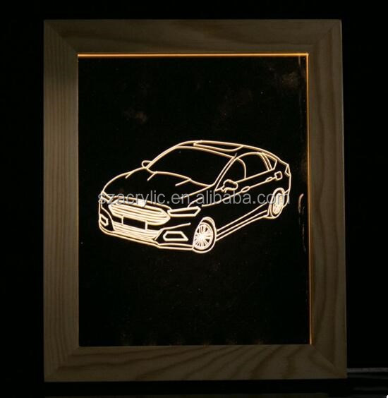 acrylic 3d led night light for car shop