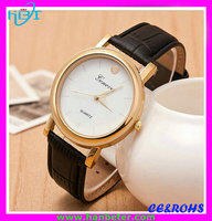 Wholesale girls lady leather watch band cover with gold case white face