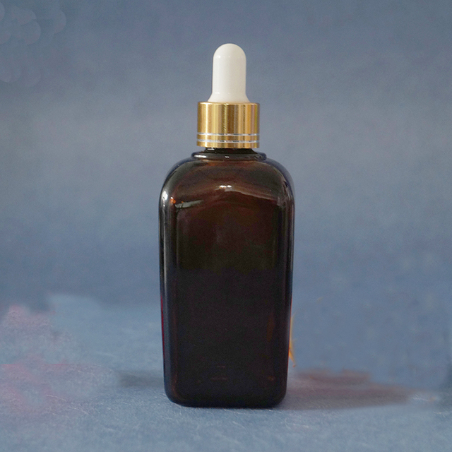 Cosmetic packaging eye face essential oil amber square glass bottle 100ml