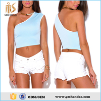 2016 guangzhou shandao plain dyed summer casual fashion women one side shoulder top
