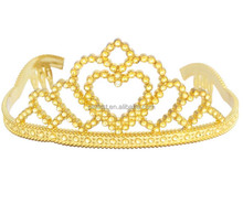 Gold Plastic Tiara w/ Combs Princess Queen Crown Halloween Sparkle Dress-Up NEW