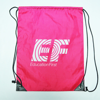 Resealable Printing Shopping Travel 210D Polyester Drawstring Backpack