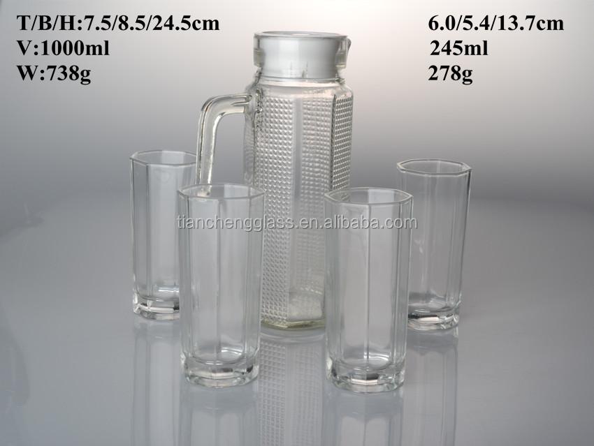Drinking glassware Set of 4water/juice glasses and 1 glass jug/pitcher with lid