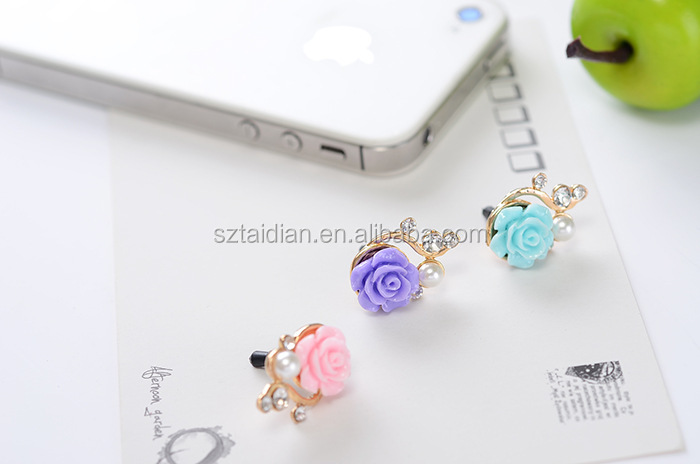 cute diamond fake light pink blue purple flower charming Rhinestone dustproof custom headphone anti Dust plug for samsung