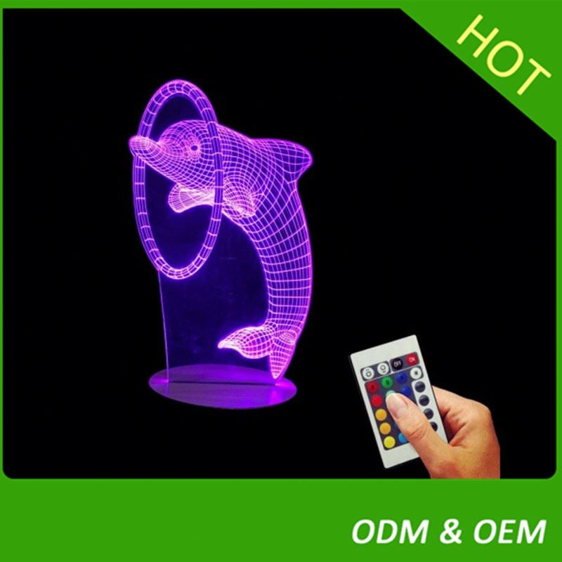 3D Lamp Room Bedroom Decorative Night Light Multi 7 Color Change USB Cable Smart Touch Button LED Desk Table Light