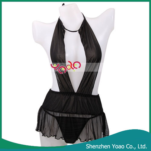 Sexy Lady Tied Bare Breast Type Sleeping Dress With T-Back Black
