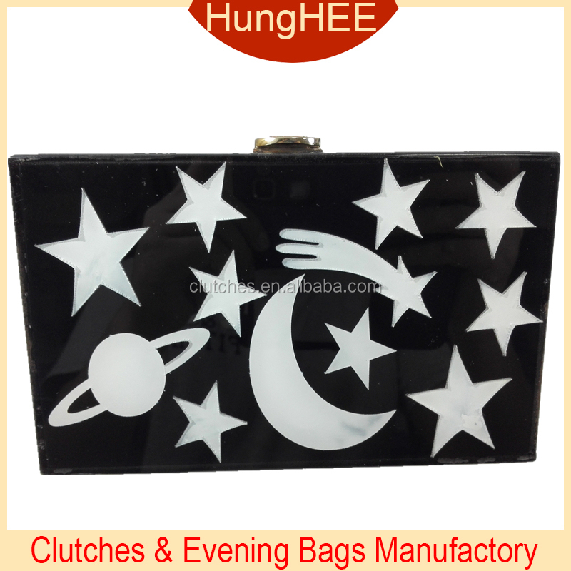 Black Acrylic and white Moon Stars acrylic clutch box bag HH-AC1632