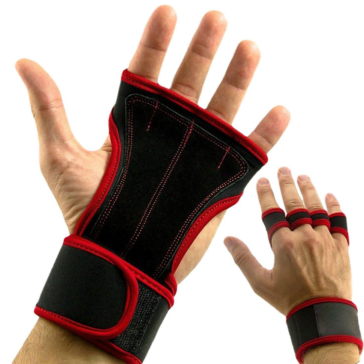 Custom Made Fitness Gym Fingerless Hand Grip Guard Palm Protector Weight Lifting Gloves Wrist Wrap Support