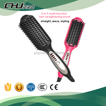 Online shopping newest tourmaline plate 3 in 1 hair straightener comb brush and curling iron