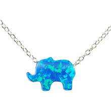 Baby Lucky Jewelry 925 Sterling Silver Blue Opal Elephant Necklace
